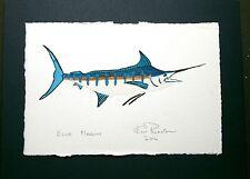 Blue Marlin: Ready for instant shipping: Ken Richards original framed WC