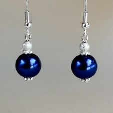 Midnight blue pearls silver short drop dangle earrings wedding bridesmaid gift