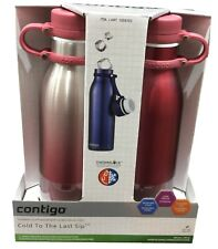 2x Avex / Contigo Vaccum Insulated Water Drink Bottle Mug Thermos BPAFree Red