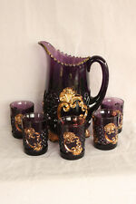 EAPG RIVERSIDE GLASS AMETHYST GOLD DÉCOR. CROESUS WATER SET PITCHER 5 TUMBLERS