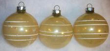 3 Shiny Brite Vintage Unsilvered Glass Yellow Gold Stripe Christmas Ornament Set