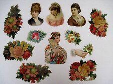 Lot of Vintage Die-Cuts For Scrap Booking w/ 1800's Embossed Flowers & Women *