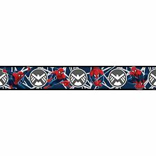 SPIDERMAN BLUE ADHESIVE WALLPAPER BORDER KIDS BEDROOM 5M LONG NEW