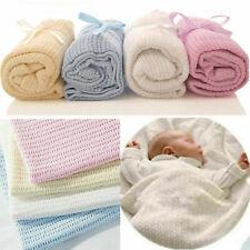 x2 New 100% Cotton Baby Cellular Blanket Pram Cot Bed Moses Basket Crib 70x90cm