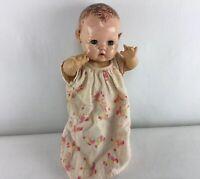 """Vintage 11"""" Effanbee Dy-Dee Baby Doll Rubber Body Applied Ears - Fast Ship - H13"""