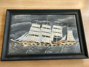 EARLY Estate SAIL SHIP on canvas OIL painting RESTORED Unsigned