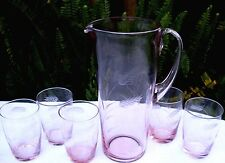 RARE Vintage SASAKI Japan PINK CRYSTAL Wheat Jug & Glasses VG Collectable In Aus