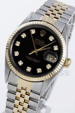 Rolex Men's Datejust 18K Gold & Steel Black Diamond Dial Jubilee 16013 Quickset