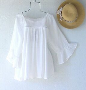 New~White Peasant Blouse Smocked Flowy Shirt Ruffle Summer Boho Plus Size Top~2X