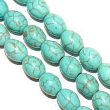 """NG3036 Blue-Green Turquoise 10mm Tapered Oval Barrel Magnesite Gemstone Beads 8"""""""