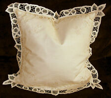 Kissenbezug Kissenhülle Spitze Bändchen beige Größe  40 cm x 40 cm NEU