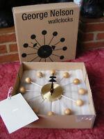 Brand New Vitra Cherry Wood & Brass Ball Wall Clock Wallclock George Nelson