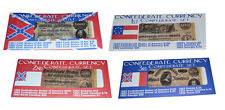 American Civil War 4 x Confederate Replica Currency Parchment Banknotes Sets