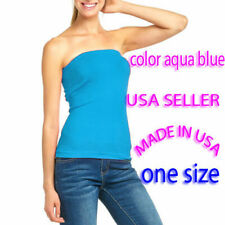 Women Sleeveless Strapless Tube Top long Bandeau Stretch - Made In USA