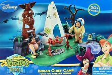 DISNEY Peter Pan Pirates Heroes Indian Chief Camp W Poseable Figures Play Set NW