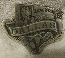 State Dallas Cowboy Cattle Ranch 1985 Vintage Belt Buckle Dallas Texas Lone Star