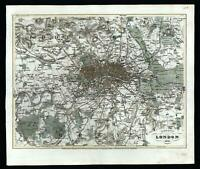 London & environs 1849 city plan England U.K. detailed lovely hand colored map