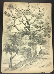 Fine Large Original Graphite Drawing by J. W. Embury  not signed, dated c. 1880