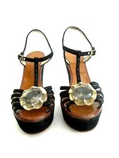 Marc Jacobs High Heels - Wedge Sandals - Size EU 38 - Black Suede - Gold Flower