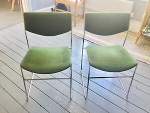 1970's mid century chrome upholstered dining chairs, set of 4