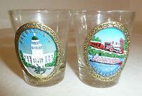 Sacramento California Shot Glasses Lot of 2 Souvenir Novelty Tourist Train