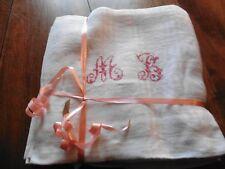 5 Anciennes serviettes de table damasse damiers mono M B rouge 63x60cm p coton