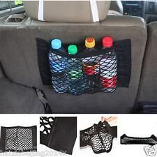 Car Rear Trunk Back Seat Elastic String Net Mesh Storage Bag Pocket Cage Black