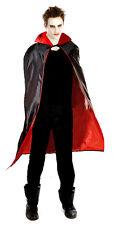 MENS LADIES LONG BLACK CAPE CLOAK VAMPIRE DRACULA FANCY DRESS HALLOWEEN NEW