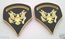 1 PAIR (2) US ARMY RANK SPC-5 GREEN Military Veteran Collar / Hat Pins 14533 HO