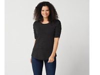 Isaac Mizrahi Live! Polka-Dot Ruched Elbow Sleeve Knit Top Black Color Size L
