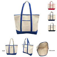 Large Big Cotton Canvas Natural Reusable Grocery Shopping Totes Bags Beach