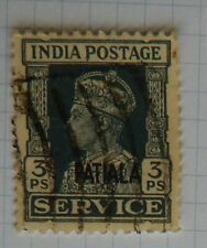 KGV1 POSTAGE STAMP INDIA 3PS O/P PATIALA USED