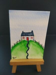 ELW Original, Aceo Cards. Little blue  house in green hill.