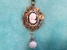 Steampunk Cameo Necklace, Gears, Watch Parts, Time