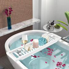 Bamboo Wood Bath Tub Rack Bathroom Tidy Tray Storage Shelf White Caddy Organiser