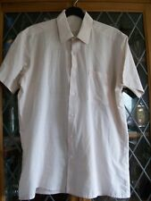 "PALE PINK & WHITE CHECK SS SHIRT 38-40"" CHEST M VINTAGE 1980s **GC**"
