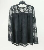 Suzanne Betro Boho All-Over Lace Black Plus Size Blouse Top Shirt
