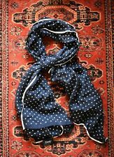 Stunning Drake's Wool & Silk Navy Blue Polka Dot Scarf White Trim Made in Italy