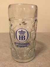 Huge Collectible HB Hofbräuhaus München Beer Mug  1 liter Glass Oktoberfest Rare
