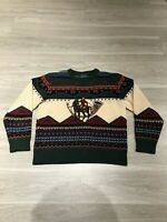 Vintage 60s Woolrich 100% Wool Horseback Stitched Long Sleeve Sweater Womens M