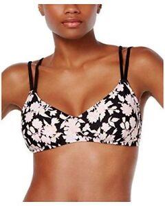 Bikini Nation Bikini Top Sz XS Pink Floral Print Double Strap Swim Top 6BN3B89J