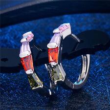 Silver Plated Red Purple Crystal CZ Cubic Zirconia Girls Hoop Huggie Earrings