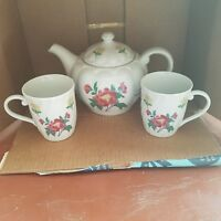 Laura Ashley Floral Porcelain PARFUMS Teapot with 2 Cups