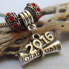 Graduation Diploma 2016 European Charm Pendant And Large Hole Birthstone Beads