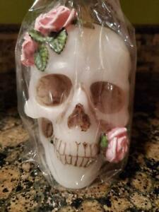 Skull Candle With Pink Roses Perfect for Rituals, Spells, Decorations