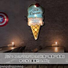 Ice Cream Shaped LED Light Metal Hanging Signs Bar Bakery Shop Wall Decor Art