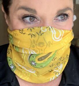 GREEN AND YELLOW TEAM Face Mask Fishing Gaiter Bandana Tube Buff Neck Shield UV