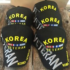 WHOLESALE LOT 5 X BLACK KOREA VETERAN Baseball Caps Adjustable HAT NEW HT-506-5