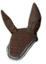 Horse Earnet Crochet Fly Veil Equestrian Fly Bonnet/veil/Fly mask FSE05 (Brown)6