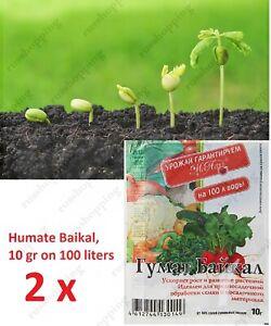 2 psc Humate Baikal, 10 gr, processing, seed preparation, humic acids, Growth